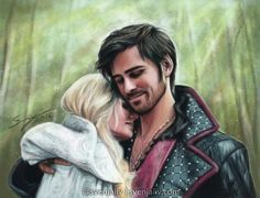 """Emma and Killian drawing by @SvenjaLiv """"A #CaptainSwan moment in Camelot - commission for ahookedhero on Tumblr! <3 #OnceUponATime"""""""