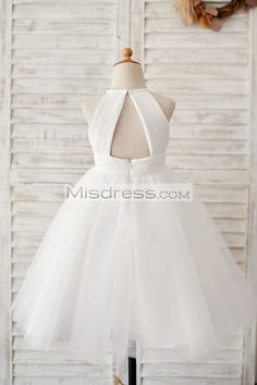 Ivory Chiffon Tulle Halter Neck Keyhole Back Wedding Flower Girl Dress  SKU: K1003893  Buy Now:   #flowergirldress