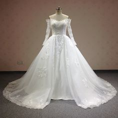 Find More Wedding Dresses Information about Real Sample Chapel Train Boat Neck…