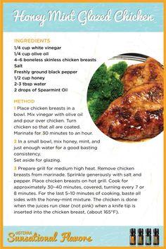 Honey Mint Glazed Chicken with Spearmint essential oil