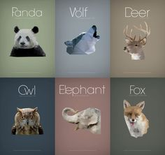 Poly Animals by Martin Zarian, via Behance