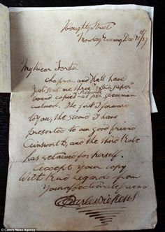 Accept your copy, with kind regards, from your affectionate friend Charles Dickens: Letter reveals how author gave copies of his first novel to friends  Note accompanied his first-ever bound copy of The Pickwick Papers Sent to close friend and biographer John Forster on December 11, 1837 Expected to fetch £400 when it goes up for auction on Friday