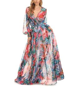 Look at this Karen T. Design Blue & Coral Surplice Bishop-Sleeve Maxi Dress on #zulily today!