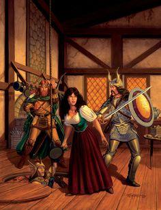 The Escape...Dragonlance Series.  Tikka!!!!! Kicking ass with a frying pan WELL before Rapunzel!!!!!