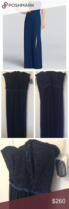 """Navy Lace Strapless Dress Long strapless dress with a lace bodice and mesh skirt. Perfect for upcoming formal events! New with tags! Never worn bought another size but it was final sale. Picture isn't exact dress but shown for fit, color is more navy (marine to be exact) like second photos. The way it hits your waist and pleats creates an amazing shape. 52"""" long from top of dress to hem.  -Fully lined. Zipper Back. David's Bridal Dresses"""