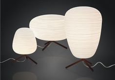 One, two, three lanterns that are lightweight yet brimming with seductive texture. Three different yet concurrently complementary shapes, balancing between the