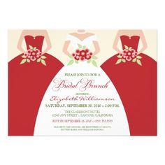 bride bridesmaids bridal brunch invitation red if the bride has chosen red
