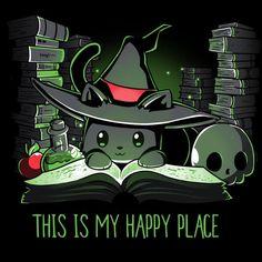 Halloween is my happy place. Halloween is my happy place. Kawaii Halloween, Chat Halloween, Halloween Shirt, Halloween Quotes, Halloween Ideas, Cute Animal Drawings, Kawaii Drawings, Cute Drawings, Cute Halloween Drawings
