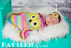 NEW PATTERN Ava the Owl Baby Hat Sleeping Bag by IRAROTTpatterns, $7.50