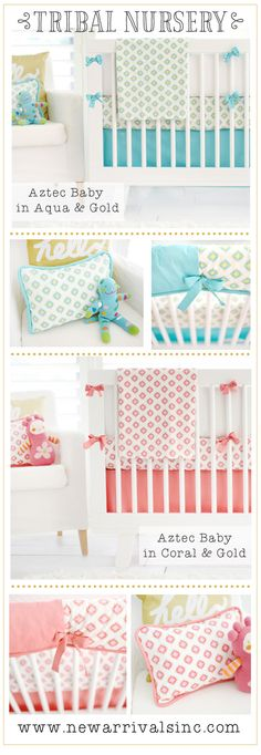 Tribal Baby Bedding in Coral or Aqua and Gold for your little one's tribal nursery. Visit our site for more tribal nursery inspiration and coral baby bedding or aqua baby bedding. We have the perfect Gold Aztec crib bedding for your newest arrival! Coral Baby Bedding, Coral Nursery, Tribal Nursery, Crib Bedding, Whimsical Nursery, Rustic Nursery, Woodland Nursery, Nursery Inspiration, Little Ones