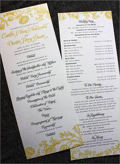 Creative Wedding Programs | 21st - Bridal World - Wedding Lists and Trends