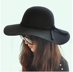 fc67097422a black Vintage Women Lady wide brim wool felt bowler fedora hats Floppy  Cloche Azza Boutique