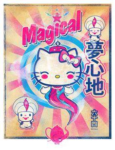 Rub, Rub, Rub... Magical Hello Kitty Genie in a Bottle by 64Colors    #illustration #sanrio #hellokitty