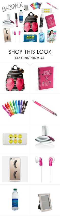 """In My Backpack"" by holly32196 ❤ liked on Polyvore featuring Betsey Johnson, Simple Pleasures, Paper Mate, Calvin Klein, Casetify, Sony, Chapstick, Liqui, Heal's and backpack"