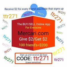 "Type invite code ""ttr271"" signing up to BUY/SELL APP Mercari & receive $2 FREE! Earn $2 for every friend you invite! https://www.mercari.com/dl/  #iphone7 #xbox1 #ps4 #sony #beats #gaming #yeezyboost #supreme #gucci #applewatch #xboxone #nike #coins #jewelry #gold #silver #sterling #makeup #beats #antique #collections"