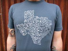 TX Cats  screenprinted cat shirt on asphalt  by SquidInkKollective, $22.00