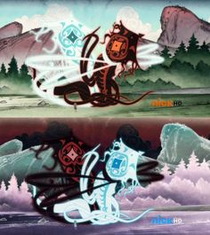 Top image is the original, the bottom image has the colors Inverted. And just as impressive. Avatar Wan, The Last Avatar, Avatar Funny, Avatar The Last Airbender Art, Cartoon Art Styles, Cartoon Tv, Funny Nerd Jokes, Avatar World, Avatar Series