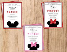 Mickey Mouse . Minnie Mouse .  Modern Birthday Invitation . Digital File . PDF or JPEG File . Print yourself. by MoonshyneDesigns on Etsy https://www.etsy.com/listing/227065031/mickey-mouse-minnie-mouse-modern