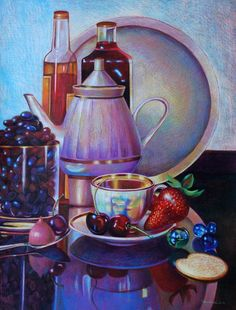 Veronica Winters - Still Life with Cherries and Strawberries (Colored Pencil)