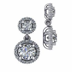 Double Drop Dangle Round Diamond Look Simulated Cubic Zirconia Pave Halo Earrings In 14k White Gold