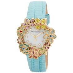 Betsey Johnson Women's Flower Mint Leather Strap Watch ($60) ❤ liked on Polyvore featuring jewelry, watches, multi color jewelry, flower jewellery, floral watches, bezel watches and colorful watches