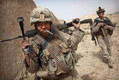badass marine machine gunner in afghanistan