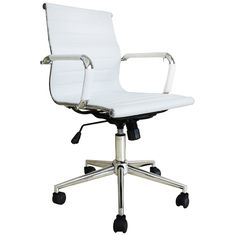 Amazon.com: 2xhome -(1 Chair only in total!) Modern Office Chair White Mid Back…