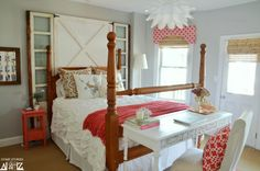 Coral and Gray Guest Room http://www.homestoriesatoz.com/guest-room/guest-room-reveal.html
