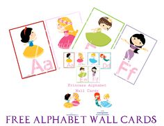 Free Alphabet Wall Cards from Enchanted Homeschooling Mom: Princess Manuscript Alphabet Wall Cards Printable