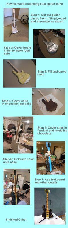 Bass Guitar Cake tutorial by cake-engineering.deviantart.com on @deviantART
