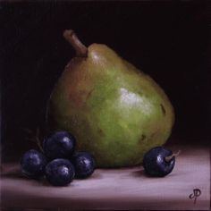 Comice Pear with Grapes, J Palmer Daily painting Original oil still life Art