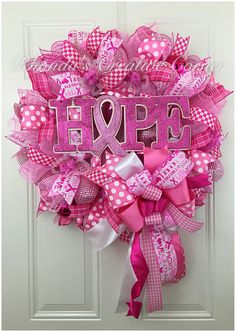 A personal favorite from my Etsy shop https://www.etsy.com/listing/452181768/breast-cancer-awareness-deco-mesh-wreath