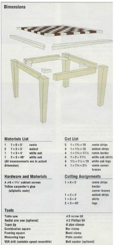 Woodworking plan for chess board.