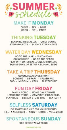 Create a Weekly Summer Schedule that gives kids something to look forward to every day and adds a variety of fun activities to your week! # summer family activities Summer Schedule for Kids Summer Activities For Kids, Family Activities, Toddler Activities, Summer Camp Themes, Babysitting Activities, Summer Fun For Kids, Summer Camp Activities, Summer Fun List, Happy Summer