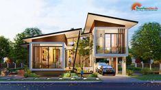 แบบบ้านโมเดิร์นชั้นครึ่ง 3 ห้องนอน 2 ห้องน้ำ สวยทันสมัย อบอุ่นน่าอยู่ - ที่นี่มีสาระ Modern Exterior House Designs, Modern House Facades, Modern Bungalow House, Modern House Floor Plans, Contemporary House Plans, Modern Architecture House, Modern House Design, Two Story House Design, Small House Design