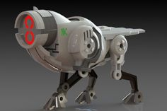 3D CAD model This mechanical robotic guard dog from the future has menacing characteristics and and piercing neon lights for eyes
