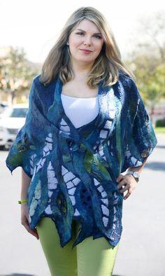 Nuno felted eco-friendly cape scarf woman handmade lacy mosaic unique shawl stole designer felt blue OOAK felt shawl wrap unique art to wear: