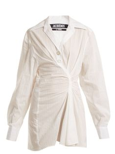 Casual Fashion Show Outfit .Casual Fashion Show Outfit Ivory Dress Short, Long Sleeve Cotton Dress, White Long Sleeve Dress, Dresses Short, Day Dresses, Cotton Dresses, Dress Long, Cl Fashion, Fashion Outfits