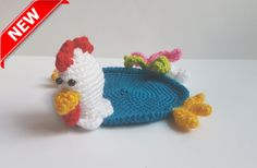 Crochet Coaster cock Amigurumi cock-a-doodle-doo by FunnyAmiToys