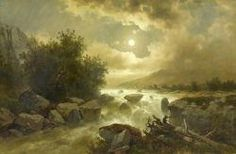 Artwork by Josef Thoma, Torrent in Switzerland by moonlight, Made of Oil on canvas