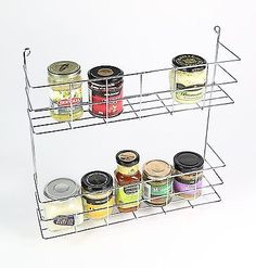 Kitchen Cupboard & Wall Mounted 2 Tier Jar Bottle Herb & Spice Holder Shelf Rack