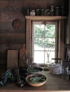 Kitchen window - trim and SHELF! rustic