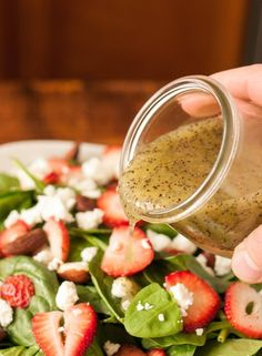 Poppy seed dressing has a balance of sweet and tangy that I find completely irresistible. It's great on a Spinach and Strawberry Salad, makes a fun spin in a coleslaw, and also does wonders as a marinade for chicken. Salad Dressing Recipes, Salad Recipes, Salad Dressings, Poppyseed Dressing Recipe, Spinach Dressing Recipe, Sauce Pesto, Eat Better, Clean Eating, Healthy Eating