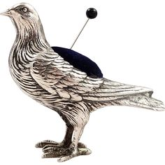 Antique Sterling Silver 'Partridge' Pin Cushion 1937 - Bird found at www.rubylane.com @rubylanecom