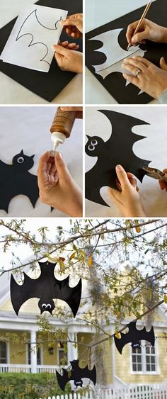 diy halloween deco - just hang up the bats falschrum. - diy halloween deco – just hang up the bats falschrum. Bat Decoration upside down – for the more - Soirée Halloween, Halloween Projects, Holidays Halloween, Halloween Treats, Diy Projects, Halloween Garden Ideas, Halloween Makeup, Youtube Halloween, Halloween Designs