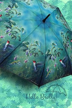Hummingbirds Umbrella available from www.hellobrolly.co.uk in both long stick & folding styles.