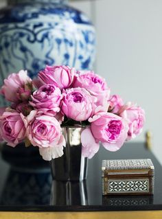 Ashley Whittaker Design - Gorgeous end table vignette with ming lamp, pink roses and ...