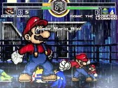MUGEN Mario VS Sonic & TMNT Leonardo & Pikachu 瑪利歐對音速小子忍者龜李奧納多皮卡丘