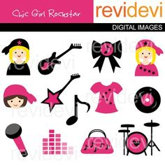 Clip art Girly chic rockstar (pink, black, guitar, drum) music class clipart.  Clipart set for teachers and educators. Great resource for any school and classroom projects such as for creating bulletin board, printable, worksheet, classroom decor, craft materials, activities and games, and for more educational and fun projects.
