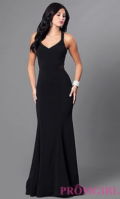 V-Neck Long Mermaid Prom Dress with Sheer Sides at PromGirl.com